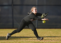 NWA Democrat-Gazette/CHARLIE KAIJO Springdale High School Sarah Howard (4) reaches for a catch during a softball game, Thursday, March 13, 2019 at Bentonville West High School in Centerton.