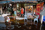 A roadside restaurant in western Bangkok. Electrocution accounted for many of the flood-related deaths.<br />