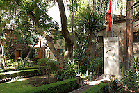 The tomb of Leon Trosky and Natalia Sedova in the garden of the Museo Casa de Leon Trotsky or Leon Trotsky House Museum in Coyoacan, Mexico City