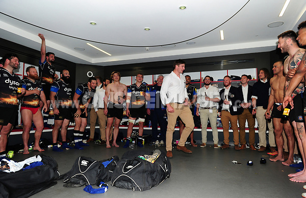 Paul Grant of Bath Rugby leads post-match celebrations in the changing rooms. The Clash, Aviva Premiership match, between Bath Rugby and Leicester Tigers on April 8, 2017 at Twickenham Stadium in London, England. Photo by: Patrick Khachfe / Onside Images