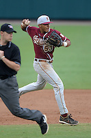 Florida State Seminoles third baseman Jose Brizuela (53) throws to first during a game against the South Florida Bulls on March 5, 2014 at Red McEwen Field in Tampa, Florida.  Florida State defeated South Florida 4-1.  (Mike Janes/Four Seam Images)