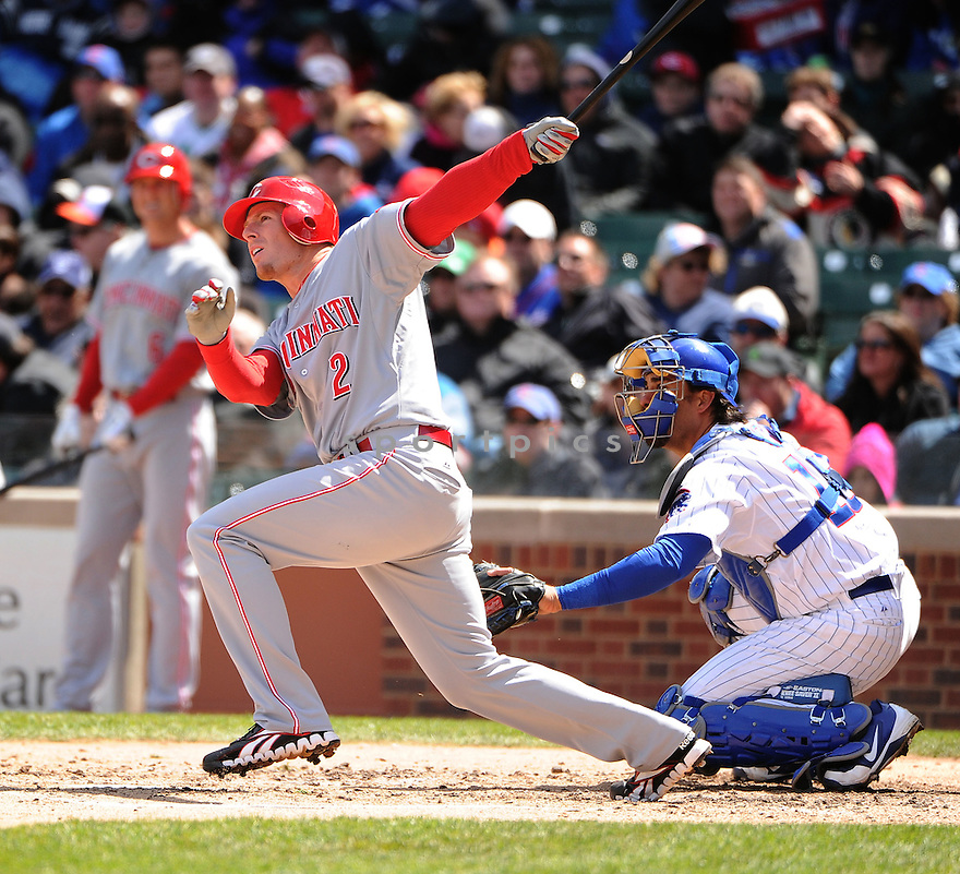 ZACK COZART, of the Cincinnati Reds, in action during the Reds game against the Chicago Cubs on April 22, 2012, at Wrigley Field in Chicago, IL. The Reds beat the Cubs 4-3.