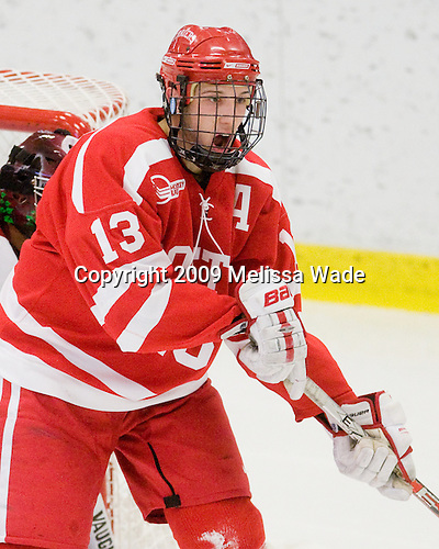 Nick Bonino (BU - 13) - The Boston University Terriers defeated the Harvard University Crimson 6-5 in overtime on Tuesday, November 24, 2009, at Bright Hockey Center in Cambridge, Massachusetts.