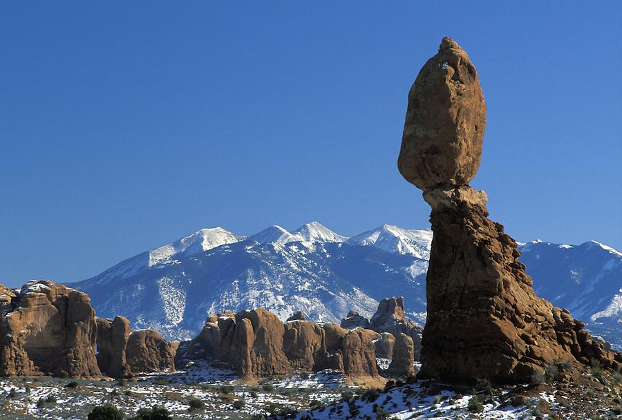 Balanced Rock and La Sal Mountains, Arches National Park, Utah.