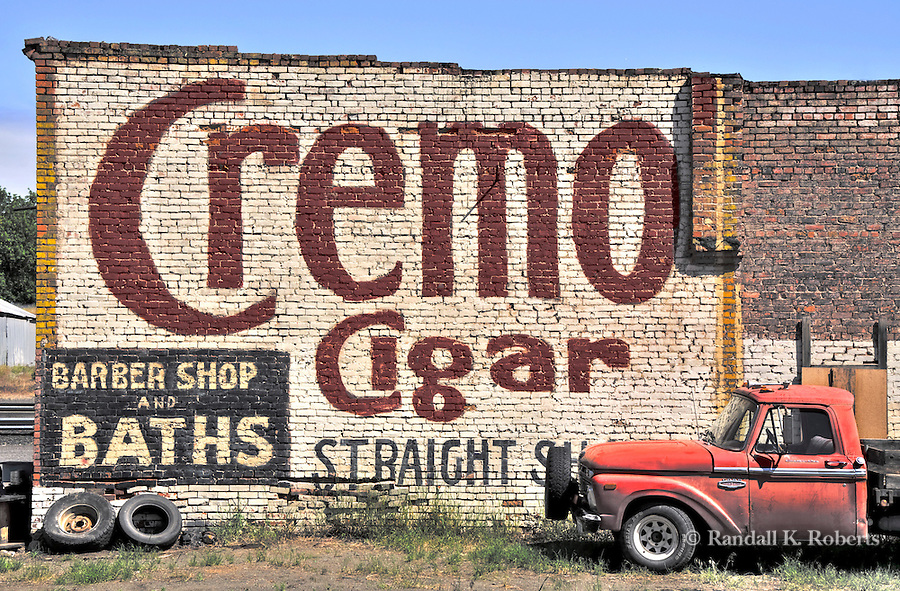 Advertising wall and old truck, Spraque, Washington