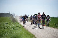 lead group over sector 26: Viesly &agrave; Qui&eacute;vy (1.8km)<br /> <br /> 113th Paris-Roubaix 2015