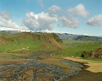 Fagridalur t.v. og Höfðabrekka séð til norðurs, Mýrdalshreppur áður Hvammshreppur /.Fagridalur left and Hofdabrekka viewing north, Myrdalshreppur former Hvammshreppur