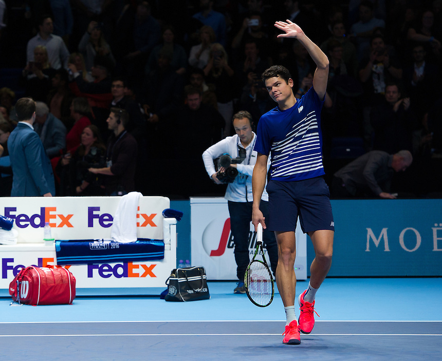 Milos Raonic of Canada celebrates his victory over Dominic Thiem of Austria in their Group Ivan Lendl match today - Milos Raonic def Dominic Thiem 7-6 (7-5), 6-3<br /> <br /> Photographer Ashley Western/CameraSport<br /> <br /> International Tennis - Barclays ATP World Tour Finals - Day 5 - Thursday 17th November 2016 - O2 Arena - London<br /> <br /> World Copyright &copy; 2016 CameraSport. All rights reserved. 43 Linden Ave. Countesthorpe. Leicester. England. LE8 5PG - Tel: +44 (0) 116 277 4147 - admin@camerasport.com - www.camerasport.com