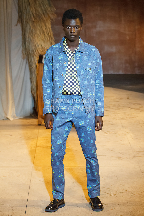Model walks runway in an outfit from the Teddy Ondo Ella Spring Summer 2018 collection at Art Beam on July 10, 2017; during New York Fashion Week: Men's Spring Summer 2017.