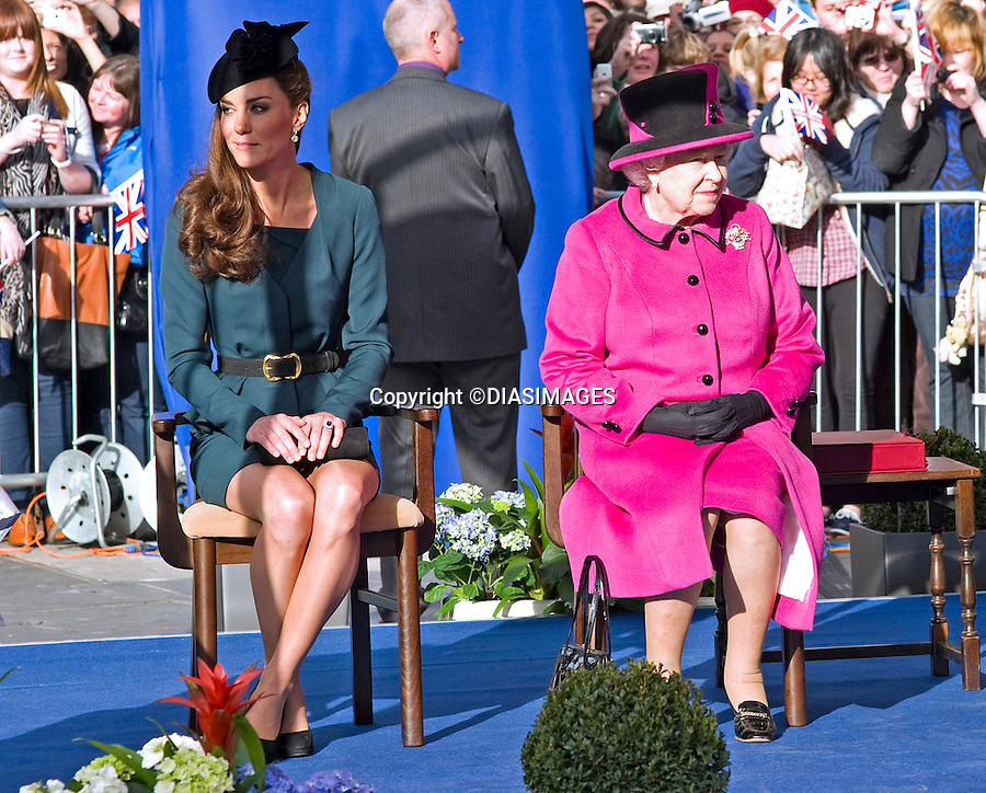 """KATE JOINS QUEEN AND DUKE ON START OF JUBILEE TOUR.Catherine, Duchess of Cambridge accompanied The Queen and Duke of Edinburgh to Leicester on the the start of their country wide Jubilee Tour_8 March 2012.Mandatory credit photo: ©Francis Dias/DIASIMAGES..(Failure to credit will incur a surcharge of 100% of reproduction fees)..                **ALL FEES PAYABLE TO: """"NEWSPIX INTERNATIONAL""""**..IMMEDIATE CONFIRMATION OF USAGE REQUIRED:.DiasImages, 31a Chinnery Hill, Bishop's Stortford, ENGLAND CM23 3PS.Tel:+441279 324672  ; Fax: +441279656877.Mobile:  07775681153.e-mail: info@newspixinternational.co.uk"""