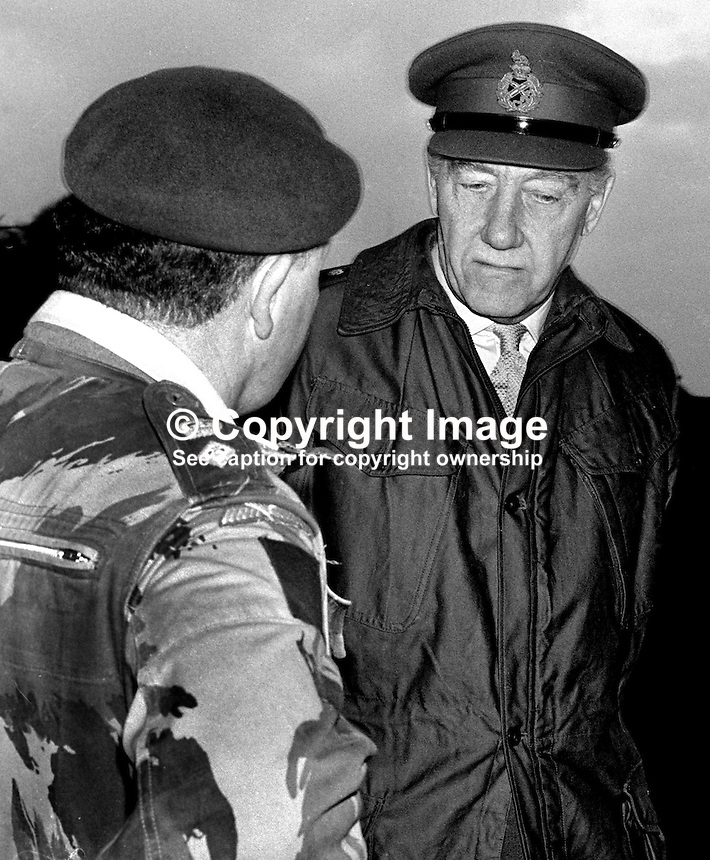 Sir Geoffrey Baker, Chief of the General Staff, British Army, United Kingdom, meets a soldier during a visit to N Ireland. 1971010117GB3.<br />