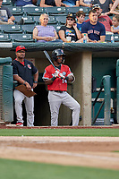 Jorge Mateo (14) of the Nashville Sounds waits to bat against the Salt Lake Bees at Smith's Ballpark on July 27, 2018 in Salt Lake City, Utah. The Bees defeated the Sounds 8-6. (Stephen Smith/Four Seam Images)