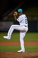 Salt River Rafters relief pitcher Alexander Guillen (23), of the Colorado Rockies organization, during an Arizona Fall League game against the Mesa Solar Sox on September 19, 2019 at Salt River Fields at Talking Stick in Scottsdale, Arizona. Salt River defeated Mesa 4-1. (Zachary Lucy/Four Seam Images)