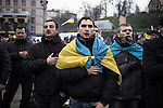 Kiev, Ukraine - 28 nov 2013: Pro-european militants singing the Ukrainian anthem The hymn is named «The Ukraine has not yet perished». Credit: Niels Ackermann / Rezo.ch