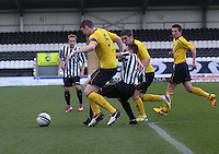 Ryan McGeever tackles Anton Brady in the St Mirren v Falkirk Clydesdale Bank Scottish Premier League Under 20 match played at St Mirren Park, Paisley on 30.4.13.