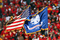 The United States Army Color Guard holds the flags high during the National Anthem before the Ravens vs Chiefs game at Arrowhead Stadium in Kansas City, Missouri on December 10, 2006. Baltimore won 20-10.