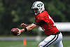 Sam Darnold #14 of the New York Jets hands off during Training Camp at the Atlantic Health Jets Training Center in Florham Park, NJ on Tuesday, Aug. 7, 2018.