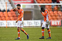 Blackpool's Kelvin Mellor and Dan Agyei walk off at the end of the match<br /> <br /> Photographer Richard Martin-Roberts/CameraSport<br /> <br /> The EFL Sky Bet League One - Blackpool v Walsall - Saturday 10th February 2018 - Bloomfield Road - Blackpool<br /> <br /> World Copyright &not;&copy; 2018 CameraSport. All rights reserved. 43 Linden Ave. Countesthorpe. Leicester. England. LE8 5PG - Tel: +44 (0) 116 277 4147 - admin@camerasport.com - www.camerasport.com