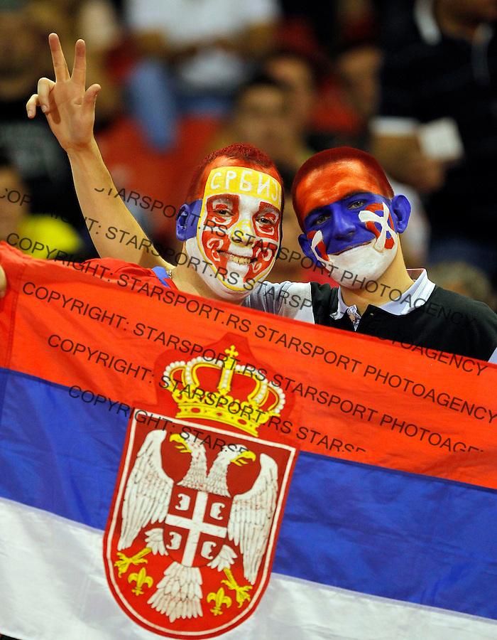 Fudbal Soccer<br /> World Cup 2014 qualifiers match<br /> Serbia v Croatia<br /> Navijaci Srbije fans supporters<br /> Beograd, 06.09.2013.<br /> foto: Srdjan Stevanovic/Starsportphoto &copy;
