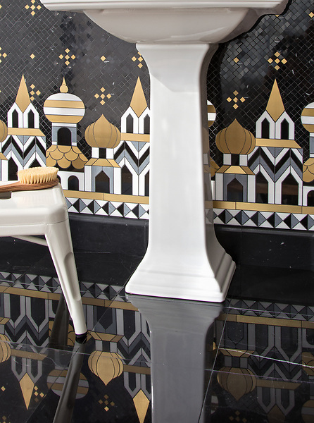 "Tzarry Tzarry Night, a waterjet and hand-cut stone mosaic, shown in polished Nero Marquina, Bardiglio, and Dolomite with Brass, is part of Cean Irminger's second KIDDO Collection, ""KIDDO: Wunderkammer® Edition"" for New Ravenna."