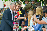 Queen Mathilde of Belgium and King Philippe - Filip of Belgium visit the Warandeparc during Belgium's National Day, in Brussels.<br /> Brussels, 21 July 2015, Belgium<br /> Pics: Queen Mathilde of Belgium