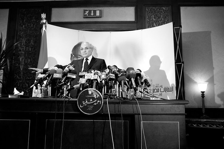 Egypt / Cairo / 3.6.2012 / Ahmed Shafik, a former air force general who served as President Hosni Mubarak's final prime minister, gives a Press Conference at the JW Marriott Hotel in Cairo, after being declared one of the top two presidential candidates for the runoff. June 3rd, 2012. Egypt. © Giulia Marchi
