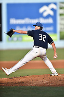 Asheville Tourists starting pitcher Riley Pint (32) delivers a pitch during a game against the Augusta GreenJackets at McCormick Field on July 15, 2017 in Asheville, North Carolina. The Tourists defeated the GreenJackets 2-1. (Tony Farlow/Four Seam Images)