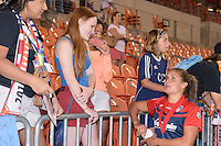 Houston, TX - Sunday Oct. 09, 2016: Katie Stengel, fans after the National Women's Soccer League (NWSL) Championship match between the Washington Spirit and the Western New York Flash at BBVA Compass Stadium. The Western New York Flash win 3-2 on penalty kicks after playing to a 2-2 tie.