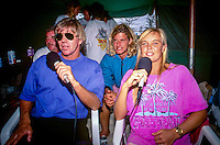 Rabbit, Occy and Wendy Botha comentating on the beach at Coolangatta during the Women's Tahchee Surf Classic 1992. Photo: joliphotos.com