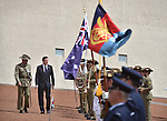 AUSTRALIA, Canberra : David Cameron Prime Minister of the United Kingdom inspects the Federation Guard during the ceremonial welcome on the forecourt of Parliament House in Canberra on November 14, 2014. AFP PHOTO / MARK GRAHAM