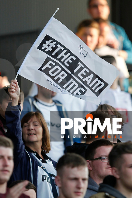 Derby County fans wave flags during the Sky Bet Championship play off semi final 2nd leg match between Fulham and Derby County at Craven Cottage, London, England on 15 May 2018. Photo by Carlton Myrie / PRiME Media Images.