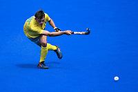 2nd February 2020; Sydney Olympic Park, Sydney, New South Wales, Australia; International FIH Field Hockey, Australia versus Great Britain; Tim Howard of Australia takes a shot on goal