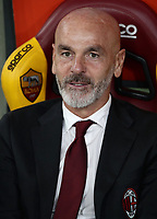 Football, Serie A: AS Roma - , Olympic stadium, Rome, October 27, 2019. <br /> AC Milan' s coach Stefano Pioli prior to the Italian Serie A football match between Roma and Milan at Olympic stadium in Rome, on October 27, 2019. <br /> UPDATE IMAGES PRESS/Isabella Bonotto
