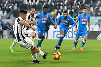 Calcio, semifinale di andata di Tim Cup: Juventus vs Napoli. Torino, Juventus Stadium, 28 febbraio 2017.<br /> Juventus' Paulo Dybala kicks to score on a penalty kick during the Italian Cup semifinal first leg football match between Juventus and Napoli at Turin's Juventus stadium, 28 February 2017.<br /> UPDATE IMAGES PRESS/Manuela Viganti