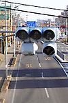 Power outages affect the traffic lights in Atsugi City, Kanagawa prefecture, Japan. There has been a fuel and power shortage in the Kanto region around Tokyo since the 2011 Tohoku earthquake and tsunami and oplice are helping out to direct traffic when the lights go out. Phototgraphed on March 18, 2011, 2011,