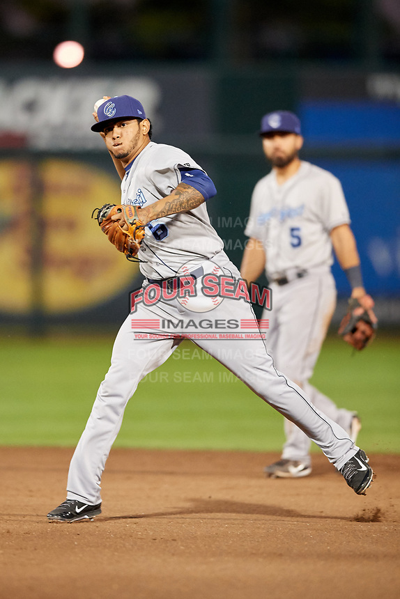 Corpus Christi Hooks second baseman Arturo Michelena (6) throws to first base during a game against the Springfield Cardinals on May 31, 2017 at Hammons Field in Springfield, Missouri.  Springfield defeated Corpus Christi 5-4.  (Mike Janes/Four Seam Images)