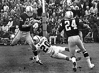 Oakland Raiders  against the Buffalo Bills ...Raider Warren Powers intercepts pass intended for B.Smith <br />#24 Fred Williamson. (1964 photo/Ron Riesterer)