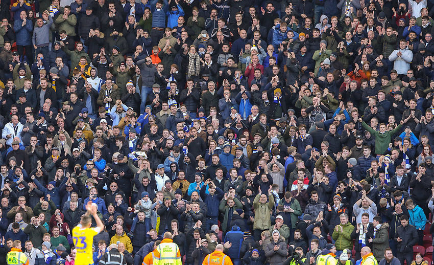 Leeds United fans celebrate the late equaliser with Kalvin Phillips<br /> <br /> Photographer Alex Dodd/CameraSport<br /> <br /> The EFL Sky Bet Championship - Middlesbrough v Leeds United - Saturday 9th February 2019 - Riverside Stadium - Middlesbrough<br /> <br /> World Copyright © 2019 CameraSport. All rights reserved. 43 Linden Ave. Countesthorpe. Leicester. England. LE8 5PG - Tel: +44 (0) 116 277 4147 - admin@camerasport.com - www.camerasport.com