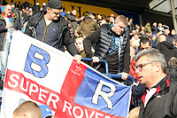Blackburn Rovers fans unfurl a banner ahead of kick-off<br /> <br /> Photographer Rich Linley/CameraSport<br /> <br /> The EFL Sky Bet Championship - Preston North End v Blackburn Rovers - Saturday 26th October 2019 - Deepdale Stadium - Preston<br /> <br /> World Copyright © 2019 CameraSport. All rights reserved. 43 Linden Ave. Countesthorpe. Leicester. England. LE8 5PG - Tel: +44 (0) 116 277 4147 - admin@camerasport.com - www.camerasport.com
