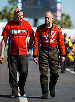 Mar 18, 2017; Gainesville , FL, USA; NHRA top alcohol funny car driver Ulf Leanders (right) with crew member during qualifying for the Gatornationals at Gainesville Raceway. Mandatory Credit: Mark J. Rebilas-USA TODAY Sports