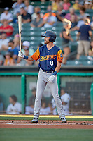 Skye Bolt (8) of the Las Vegas Aviators at bat against the Salt Lake Bees at Smith's Ballpark on July 20, 2019 in Salt Lake City, Utah. The Aviators defeated the Bees 8-5. (Stephen Smith/Four Seam Images)
