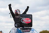 Oct 20, 2019; Ennis, TX, USA; NHRA top alcohol funny car driver Sean Bellemeur celebrates after winning the Fall Nationals at the Texas Motorplex. Mandatory Credit: Mark J. Rebilas-USA TODAY Sports