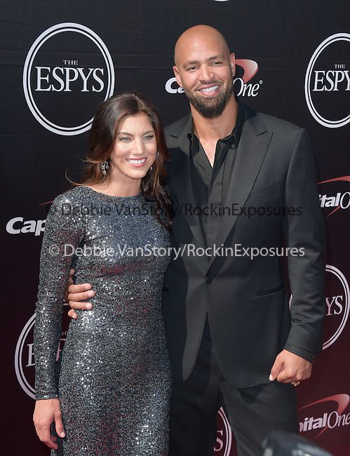 Hope Solo and Jerramy Stevens attends The 2015 ESPY Awards held at The Microsoft  Theatre  in Los Angeles, California on July 15,2015                                                                               © 2015 Hollywood Press Agency