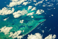 Aerial view of Alacranes Reef (Scorpion Reef), a remote coral atol in the Gulf of Mexico. Located about sixty miles off the north coast of the Yucatan Peninsula, it is a National Park of Mexico.