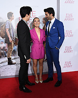 07 March 2019 - Westwood, California - Cole Sprouse, Haley Lu Richardson, Justin Baldoni. &quot;Five Feet Apart&quot; Los Angeles Premiere held at the Fox Bruin Theatre.  <br /> CAP/ADM/BT<br /> &copy;BT/ADM/Capital Pictures