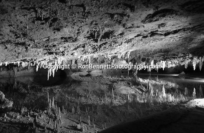 Luray Caverns Virginia, Luray Caverns discover 1878, speleothems, columns, mud flows, stalactites, stalagmites, flowstone, mirrored pools, Great Stalacpope Organ, Shenandoah Valley, Allegheny Range of Appalachian Mountains,  Black and White Photographs,  Black and White Pictures, Fine Art Photography by Ron Bennett, Fine Art, Fine Art photography, Art Photography, Copyright RonBennettPhotography.com ©
