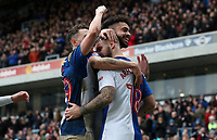 Blackburn Rovers' Adam Armstrong celebrates with his fellow team mates <br /> <br /> Photographer Rachel Holborn/CameraSport<br /> <br /> The EFL Sky Bet League One - Blackburn Rovers v Blackpool - Saturday 10th March 2018 - Ewood Park - Blackburn<br /> <br /> World Copyright &copy; 2018 CameraSport. All rights reserved. 43 Linden Ave. Countesthorpe. Leicester. England. LE8 5PG - Tel: +44 (0) 116 277 4147 - admin@camerasport.com - www.camerasport.com