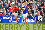 Barry John Keane Kerry in action against Aidan O'Shea Mayo in the National Football League in Austin Stack Park on Sunday..