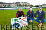 Pa Daly, Paudie Collins and Eoin Kelliher launching the second Tralee Inter-Firm over 35's Charity Soccer Blitz in aid of the Kerry Cancer Support Group Kerry Cork Health Link Bus on the 11th November 2017