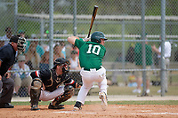 Babson Beavers catcher Sean Harrington (10) during a game against the Edgewood Eagles on March 18, 2019 at Lee County Player Development Complex in Fort Myers, Florida.  Babson defeated Edgewood 23-7.  (Mike Janes/Four Seam Images)